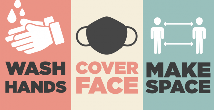NHS message reading 'Wash hands, cover face, make space'