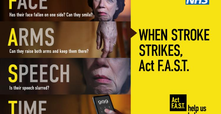 Text reads: When Stroke Strikes, Act FAST. Face-Arms-Speech-Time