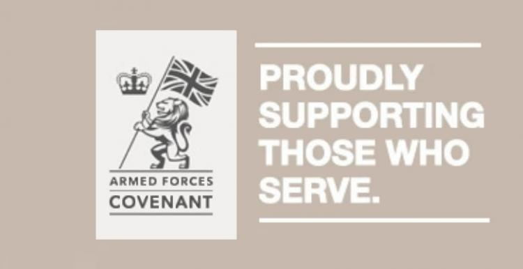 Armed Forces Covenant logo and banner that says 'proudly supporting those who serve'