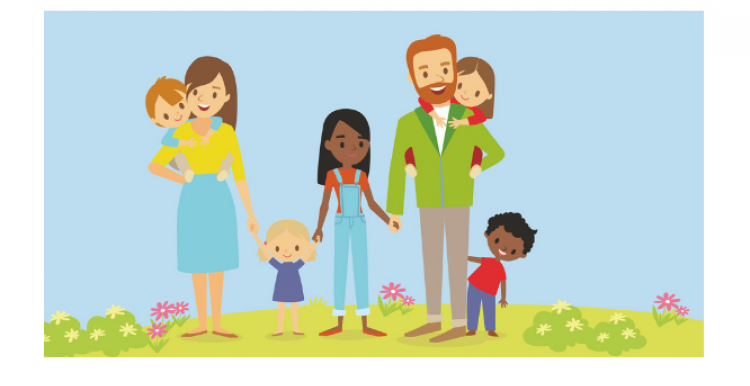 Drawing of a family with the text: 'Children and family support service'