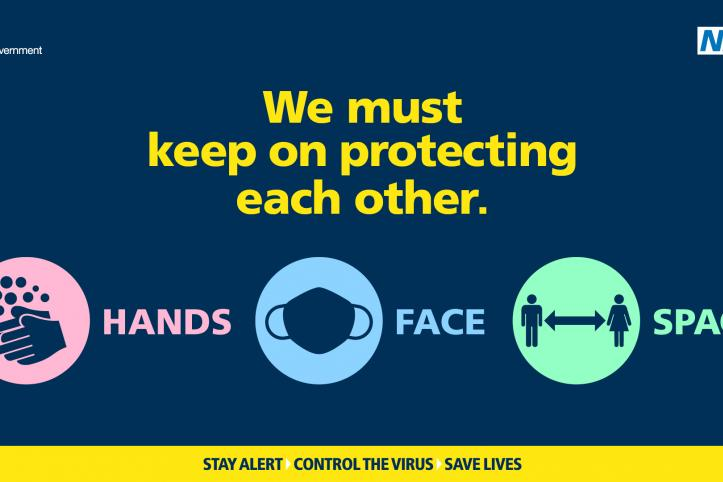 Text reads: We must keep on protecting each other. Hands. Face. Space