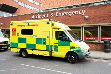 An ambulance outside a hospital