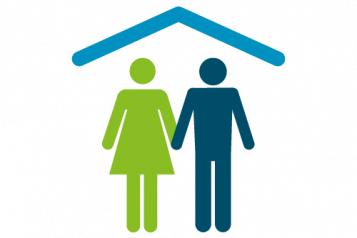 Logo of 2 people in a house