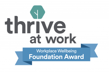 Text reading 'Thrive at work Workplace wellbeing Foundation Award'