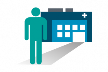 picture logo of person walking into a hospital