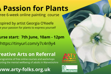 Poster advertising 'Passion for Plants' online art classes including dates and weblink