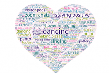 words arranged in a heart, inlcuding 'dancing, singing, zoom calls, singalongs'