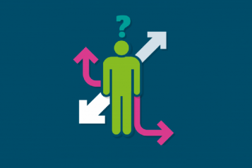 Graphic showing a person surrounded by directional arrows and a question mark