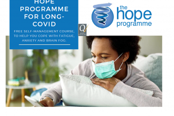 lady wearing a mask, looking at her smartphone. Text reads 'Hope programme for long covid.'