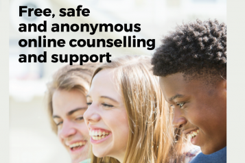 Young People with the text: 'Free, safe and anonymous online counselling and support'
