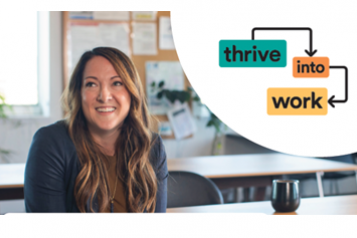 A happy lady next to the Thrive into Work logo