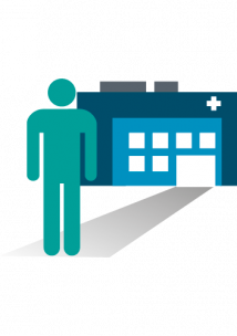 An infographic  picture of Person walking into a GP surgery