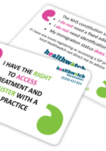 Rights to access -  a card you can show your GP if you do not have an address